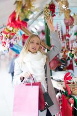 girl shopping at Christmas market