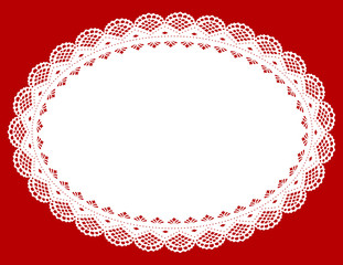 Lace Doily Place Mat, antique vintage design, red background
