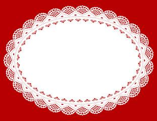 Lace Doily Place Mat, antique vintage design, red background