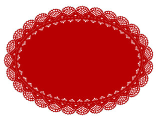 Lace Doily Place Mat, antique vintage design, Valentine red