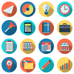 Business and office flat vector icons