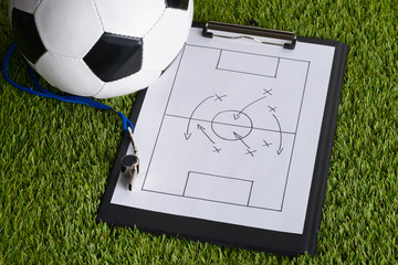Ball; Whistle And Soccer Tactic Diagram On Pitch