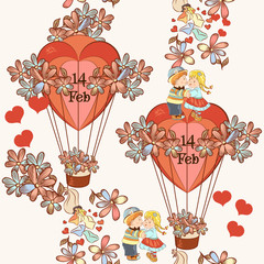 Seamless wallpaper pattern with hearts and air balloons