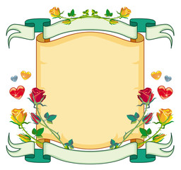 Holiday background with hearts and roses