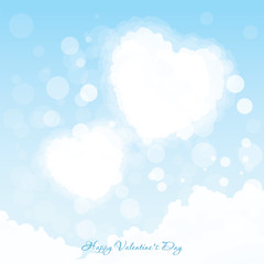 Valentines Day Greeting Card Two Hearts in the Sky
