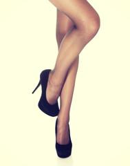 Beautiful long woman's legs in stockings