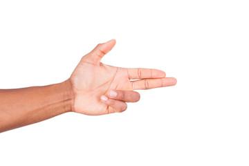 Isolated african hand making gun gesture