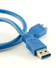 usb 3.0 cable with micro B connector isolated on white back