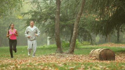Couple jogging together Outdoor