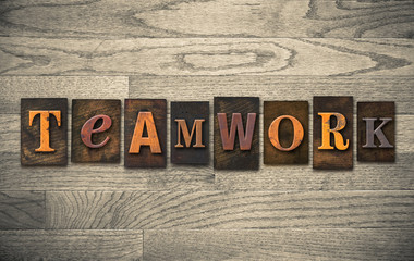 Teamwork Wooden Letterpress Concept