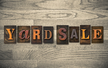 Yard Sale Wooden Letterpress Concept