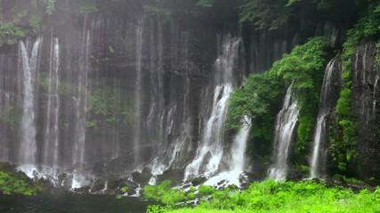 朝霧の白糸の滝 静岡県