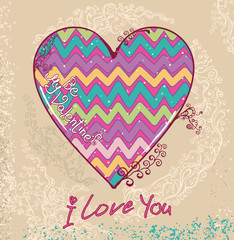 Cute card with a bright heart. I love you.