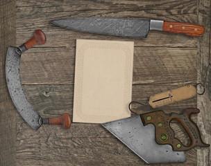 vintage kitchen knives and utensils collage