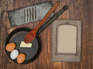 vintage utensils set and skillet