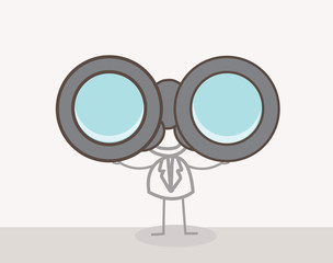 Man Binoculars Doodle