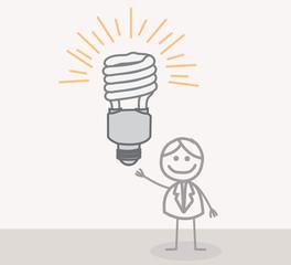 Man Lamp Idea Doodle