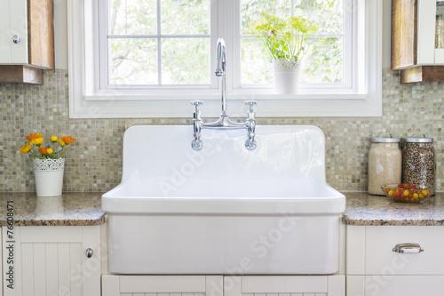 Leinwanddruck Bild Kitchen sink and counter