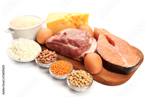 Food high in protein isolated on white - 76609629
