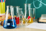 Desk in chemistry class with test tubes