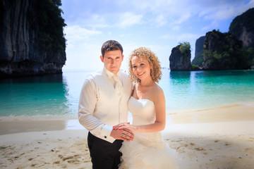 blonde bride and handsome groom