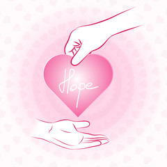 Hand holding pink heart with hope and give or share to other han