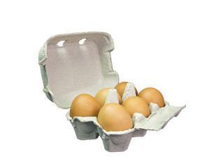 pack case of six hen eggs isolated