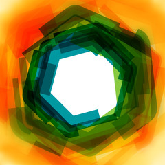 Vector background with green and yellow blurred hexagon