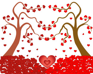 Valentines card - Love tree with heart leaves
