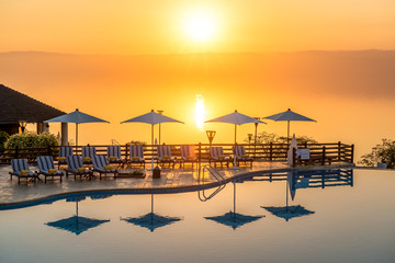 Sunset at Dead Sea viewed from east side in Jordan