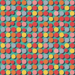 Seamless pattern of flat colorful circles