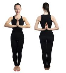 Young girl practicing yoga, namaste pose