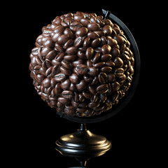 The globe made of roasted coffee beans on black background