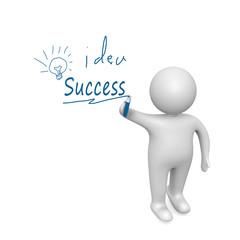 success word written  by a man