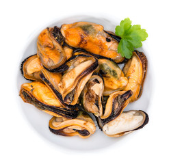 Mussels in a bowl (over white)