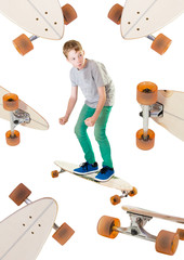 Junge und Longboard