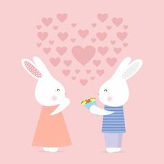 Cute bunny gives flowers, love card