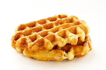 traditional homemade Belgian waffles on a white background