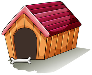 A wooden doghouse