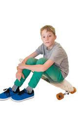 Junge und Longboard Skateboard