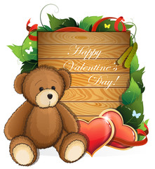 Valentine teddy bear with  hearts and foliage