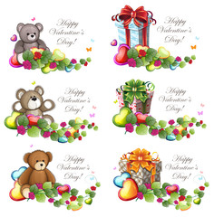 Valentine Teddy Bears and gift boxes