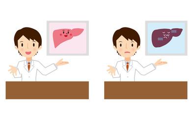 肝臓の説明をする医者