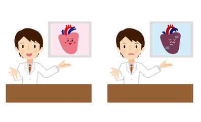 心臓の説明をする医者