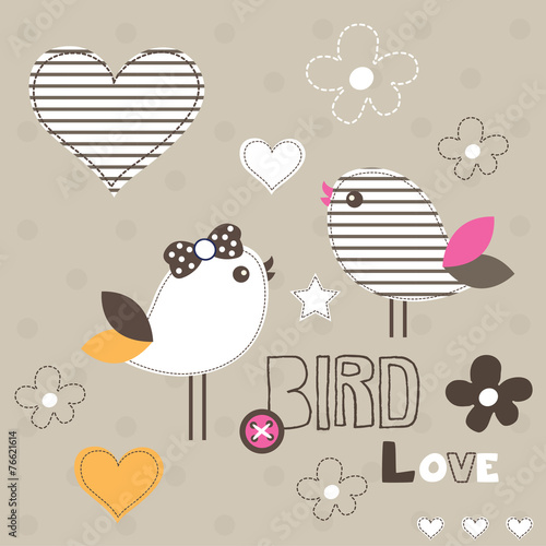 cute bird love card polka dot background vector illustration © yoliana