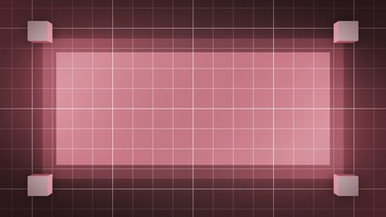 moving 3D cubes, loop BG, red