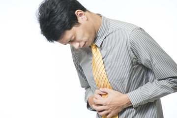 Man suffering from stomach pain..