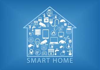 Smart home automation as vector illustration