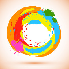 round design element: bright colored ink splashes