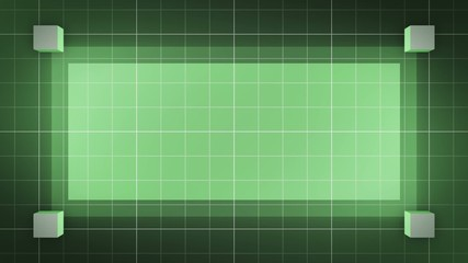 moving 3D cubes, loop BG, green